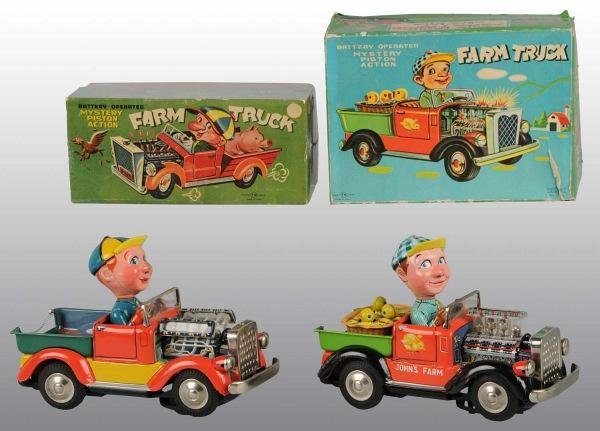 5: Lot of 2:Tin Litho Farm Truck Battery-Op Toys in O/B