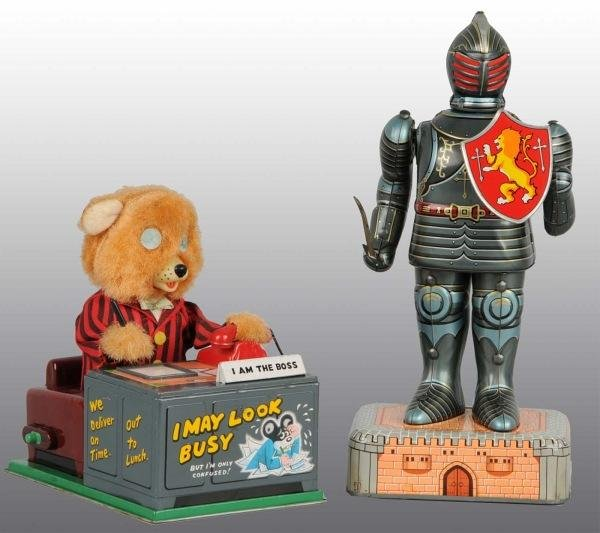 6: Lot of 2: Tin Litho Character Battery-Op Toys.