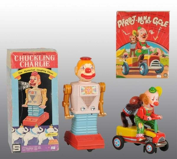 7: Lot of 2: Tin Litho Clown Battery-Op Toys in O/B