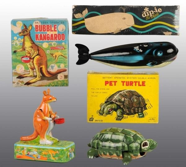 9: Lot of 3: Tin Litho Animal Battery-Op Toys in O/B