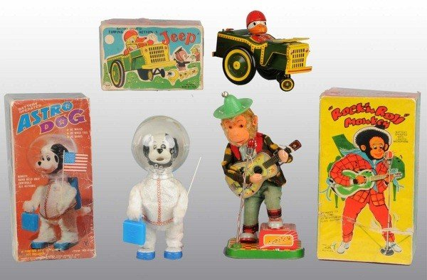 10: Lot of 3:Tin Litho Animal Bat-Op Toy in Orig. Boxes
