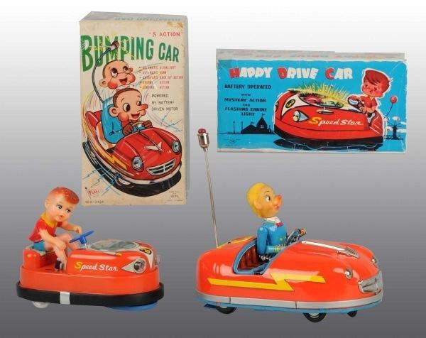 11: Lot of 2: Tin Litho Bumping Car Bat-Op Toys in O/B