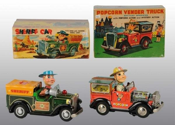 12: Lot of 2: Tin Litho Truck Battery-Op Toys in O/B