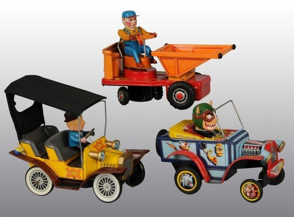 13: Lot of 3: Tin Vehicle Battery-Operated Toys.