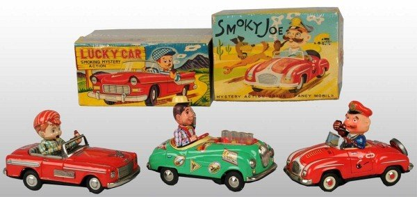 14: Lot of 3: Tin Automobile Battery-Operated Toys.