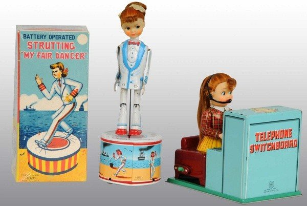 16: Lot of 2: Tin Litho Female Battery-Op Toys.