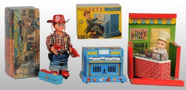17: Lot of 3: Tin Litho Battery-Operated Toys in O/B