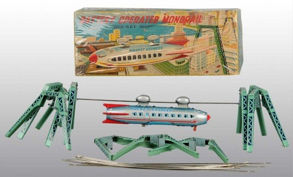 18:Tin Litho Rocket Express Monorail Battery-Op Toy O/B