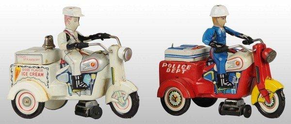 23: Lot of 2: Tin Litho Motorcycle Friction Toys.