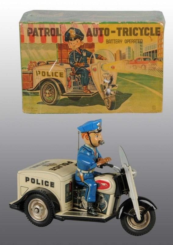 24: Tin Litho Police Cycle Battery-Operated Toy in O/B