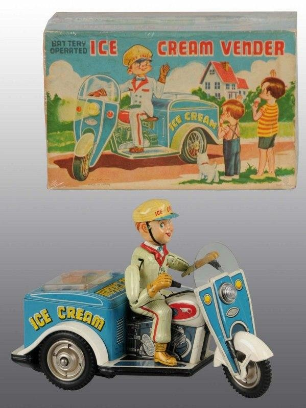 26:Tin Litho Ice Cream Vendor Cycle Batt-Op Toy in O/B