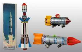 579 Lot of 3 Tin Space Rocket BatteryOp Toys