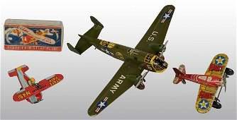 708 Lot of 3 Tin Litho Marx Airplane WindUp Toys