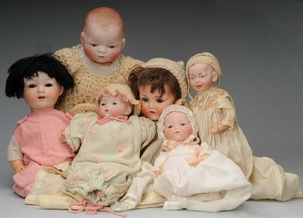 911: Lot of 6: Bisque Baby Dolls.