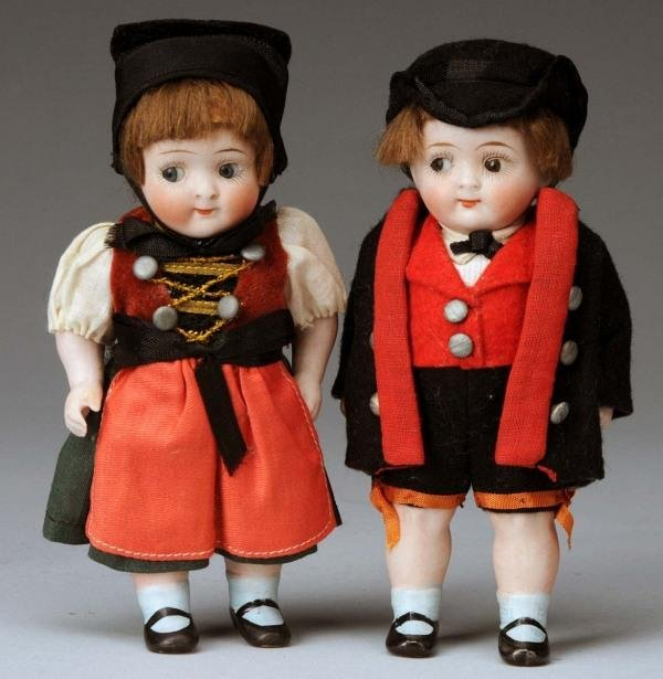 913: Lot of 2: German All Bisque Googly Dolls.