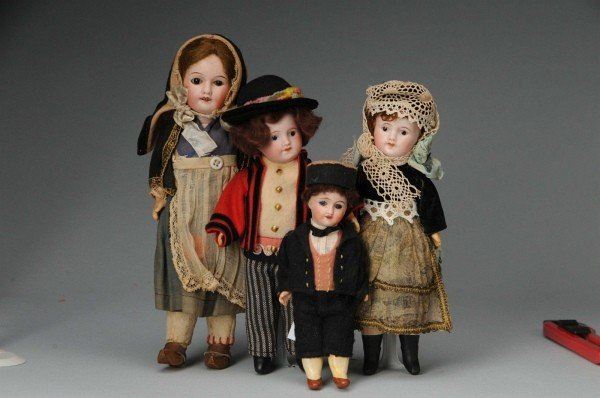 914: Lot of 4: French Bisque Dolls.
