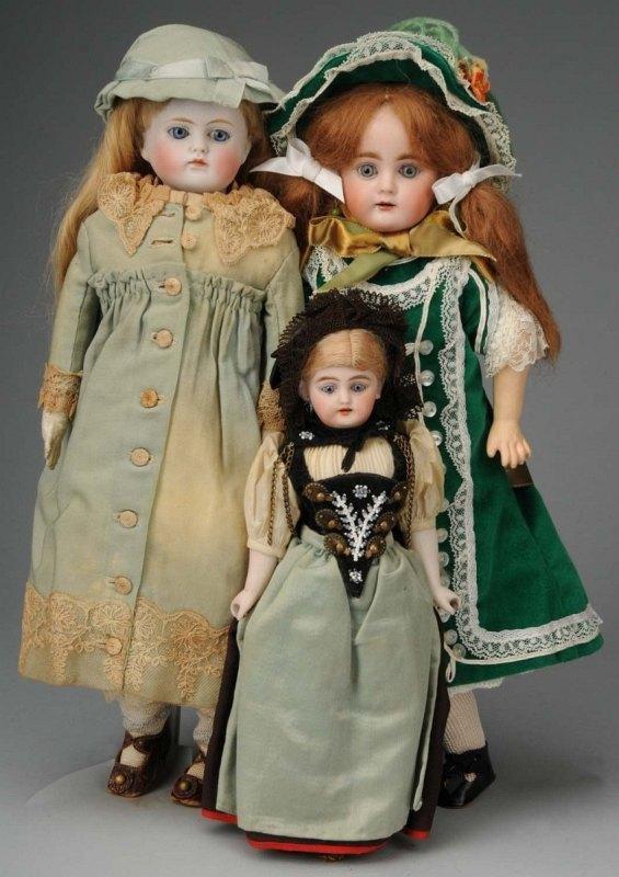922: Lot of 3: Bisque Head Dolls.