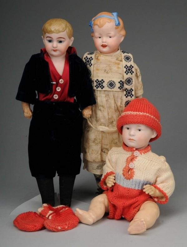 924: Lot of 3: German Bisque Character Dolls.