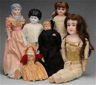 937: Lot of 6: Bisque and China Dolls.