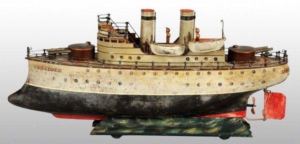 1341: Tin Marklin Decidee Steam Driven Gunboat Toy.