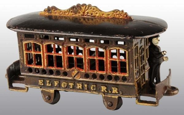 1506: Cast Iron Electric Railroad Still Bank.
