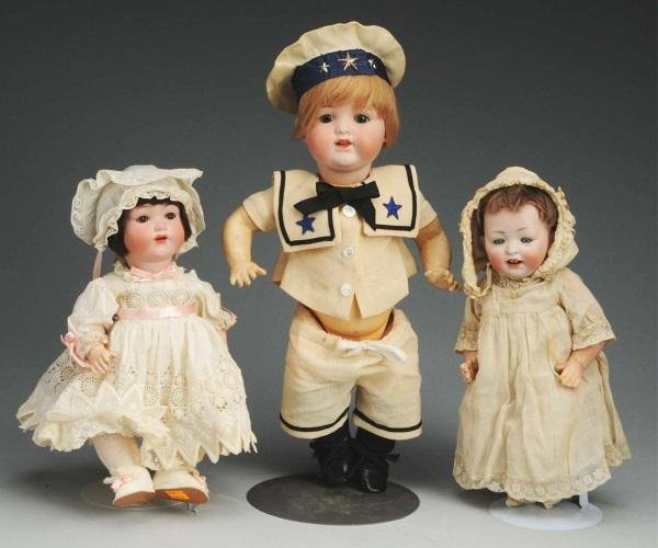 2: Lot of 3: German Bisque Character Dolls.