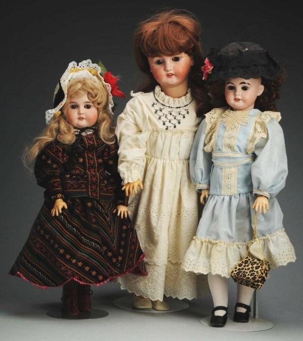 3: Lot of 3: German Bisque Child Dolls.