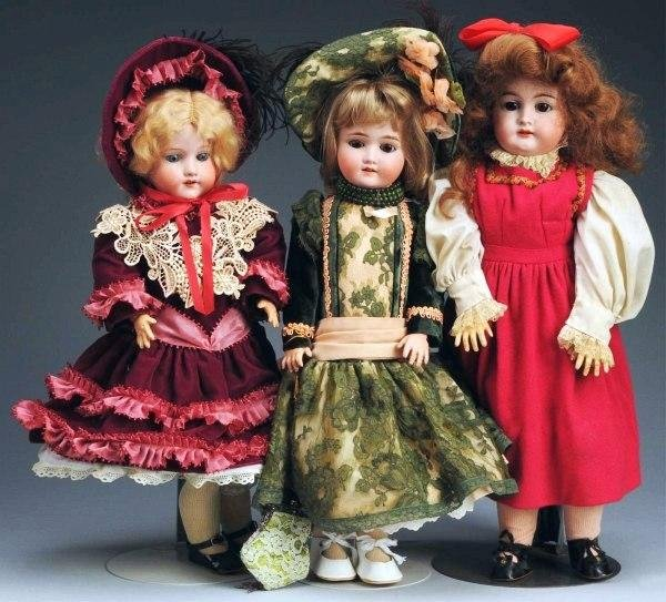 6: Lot of 3: German Bisque Child Dolls.