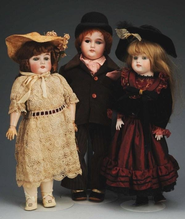 8: Lot of 3: German Bisque Child Dolls.