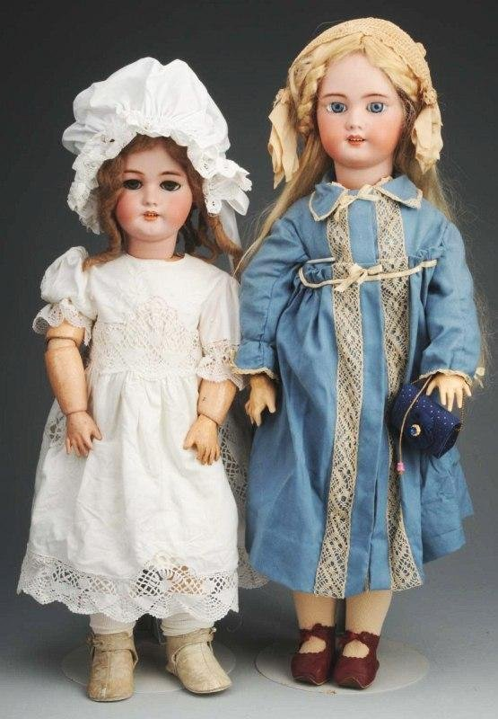 9: Lot of 2: Bisque Child Dolls.