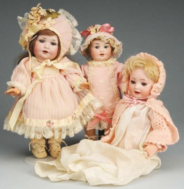 10: Lot of 3: German Bisque Character Dolls.