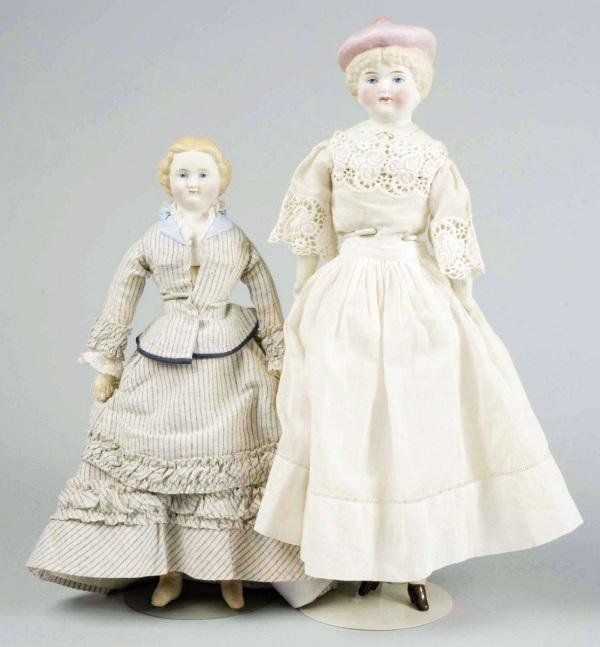 144: Lot of 2 Charming Antique German Bisque Dolls.