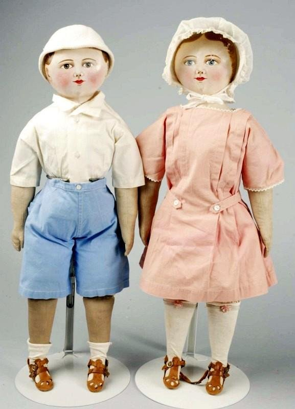 "181: Rare All Cloth ""Maggie Bessie"" Pair of Dolls."