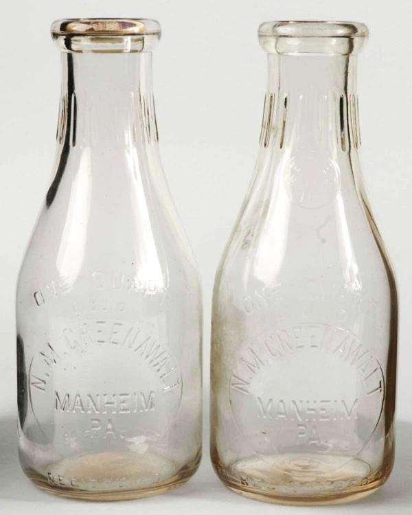 6: Lot of 2: N.M. Greenawalt 1-Quart Milk Bottles.