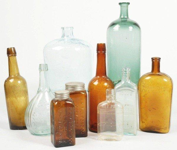 8: Lot of 10: Glass Bottles.