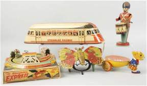 219 Lot of 5 Assorted Tin Toys
