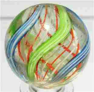 Red & White Latticino Swirl Marble.
