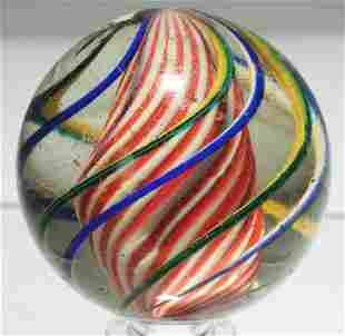 Large Barber Pole Solid Core Swirl Marble.