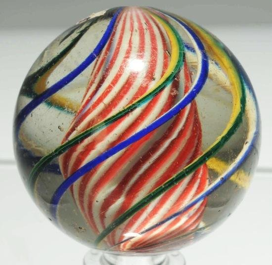 7: Large Barber Pole Solid Core Swirl Marble.