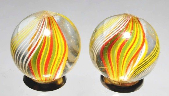 14: Lot of 2: Same Cane Ribbon Swirl Marbles.