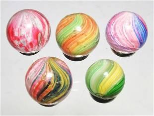 Lot of 5: Onionskin Marbles.