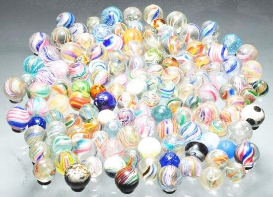 281: Lot of 129: Handmade Marbles.