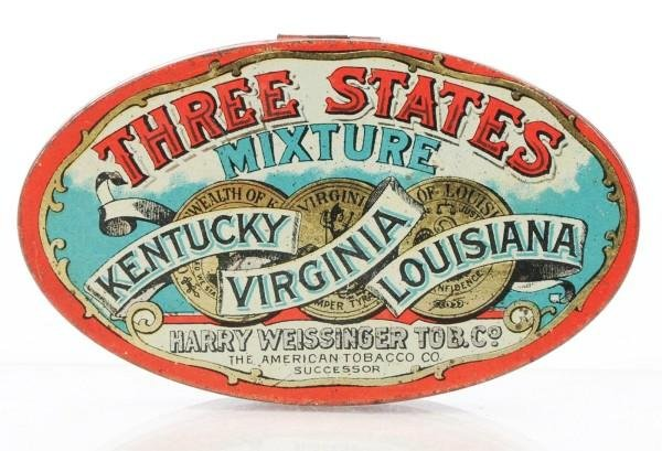 6: Oval Three States Mixture Flat Tin.