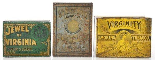 8: Lot of 3: Square Corner Tobacco Tins.