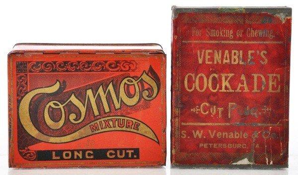 11: Lot of 2: Square Corner Tobacco Tins.