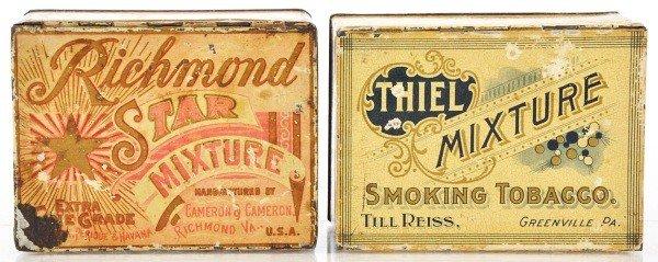14: Lot of 2: Square Corner Tobacco Tins.