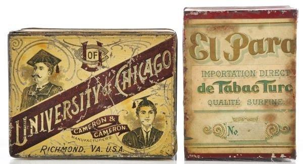 19: Lot of 2: Square Corner Tobacco Tins.