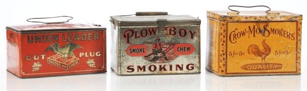 521: Lot of 3: Cigar/Cut Plug Lunch Boxes.