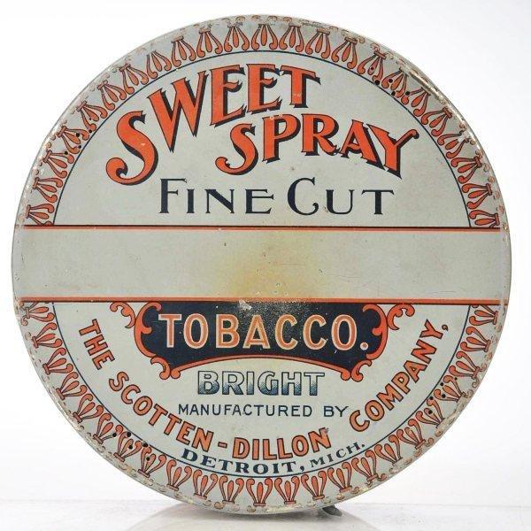 801: Sweet Spray Pie-Shape 1-Pound Tobacco Tin.