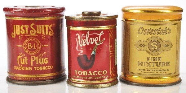 802: Lot of 3: Upright Round Tobacco Tins.